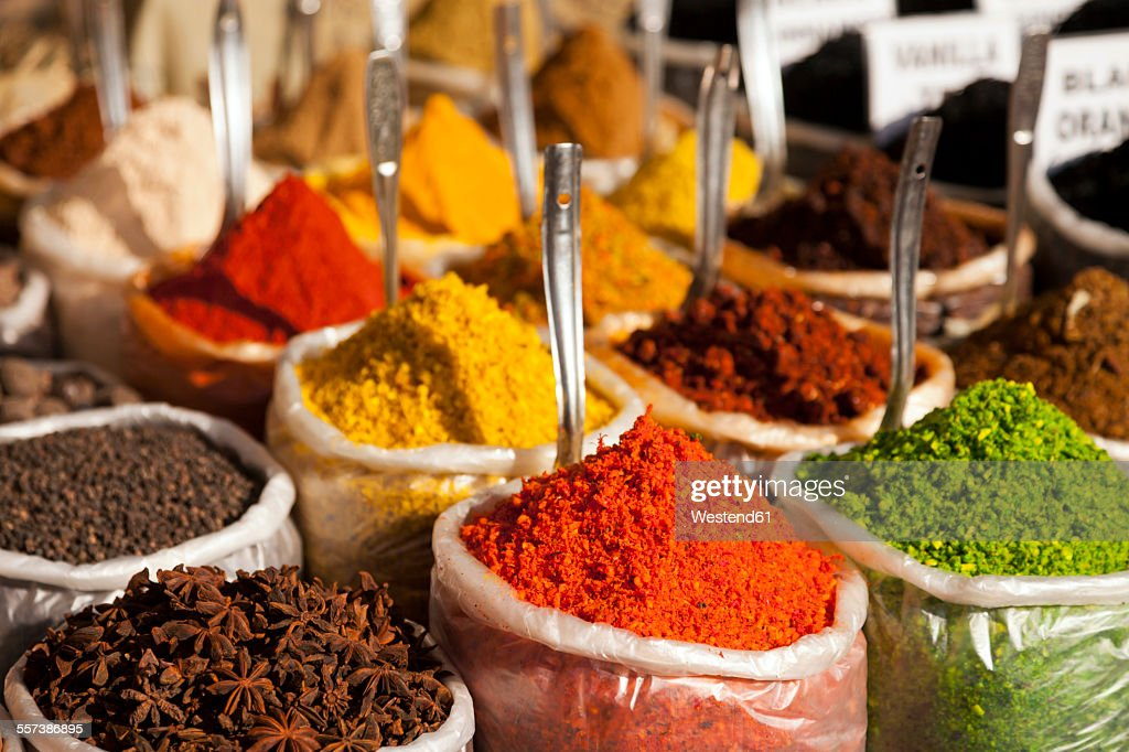 India, Goa, Anjuna, plastic bags of spices on market : Stock Photo
