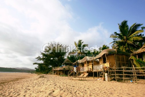 India Goa Beach Huts On Agonda Stock Photo