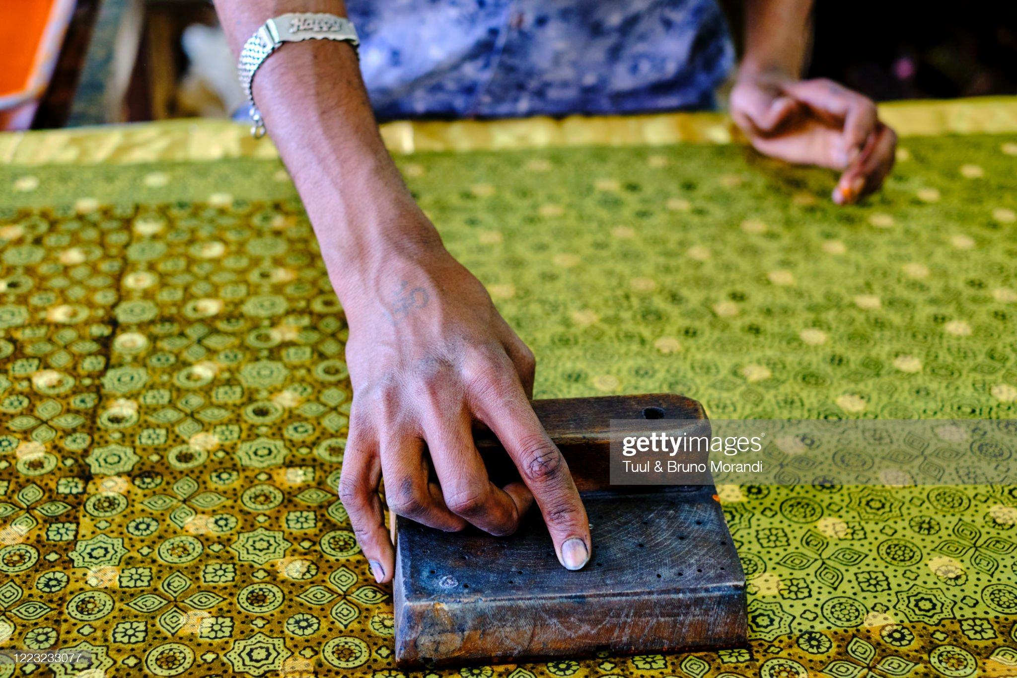 India, Gujarat, Kutch, Bhuj, Ajrakhpur, Ajrak block printing textile : Stock Photo