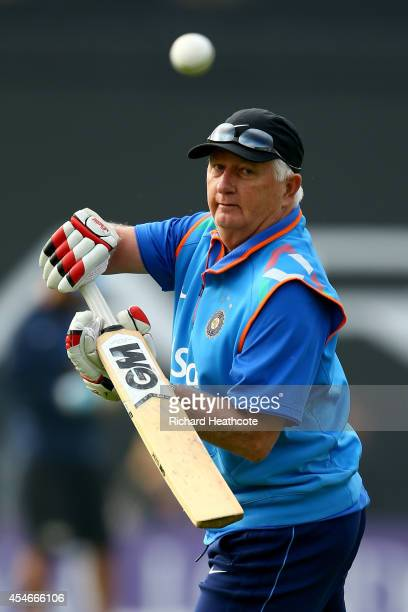 India head coach Duncan Fletcher helps the team warm up before the Royal London One-Day match between England and India at Headingley on September 5,...