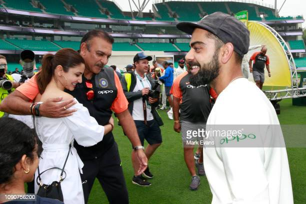 India Head Coach Ravi Shastri hugs Anushka Sharma wife of Virat Kohli after India won the Series 21 during day five of the fourth Test match in the...