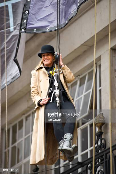 India Hicks abseils down Austin Reed and Viyella Flagship store to mark historic Regent Street opening at 100 Regent Street on November 23 2011 in...