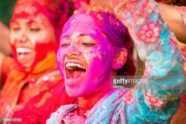 India Holi Festival Fun Dancing Young Woman