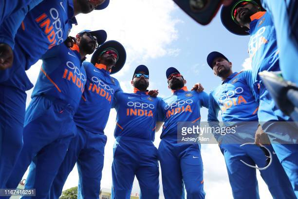 India huddle during the second MyTeam11 ODI between the West Indies and India at the Queen's Park Oval on August 11, 2019 in Port of Spain, Trinidad...