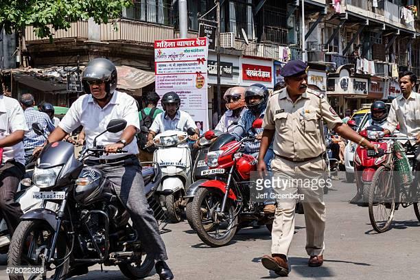 India Indian Mumbai Tardeo Jehangir Boman Behram Road traffic control officer policeman beret motorcycle motor scooter 2 two way radio