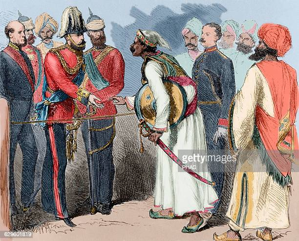 India Interview between the Prince of Wales with the Maharana of Oudeypour Engraving 19th century Colored