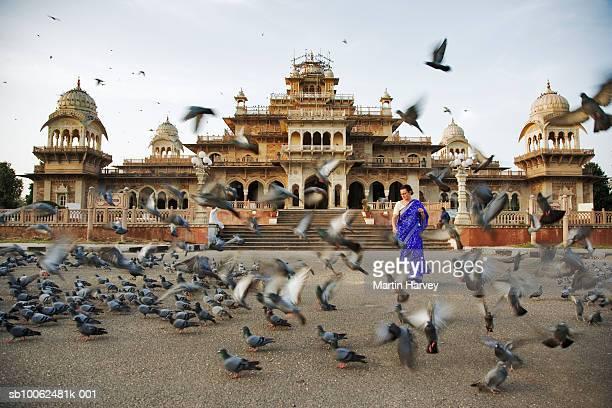India, Jaipur, Albert Hall Museum, woman walking amongst pigeons