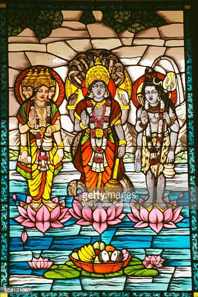 India, Jaipur, Birla temple, Stained glass