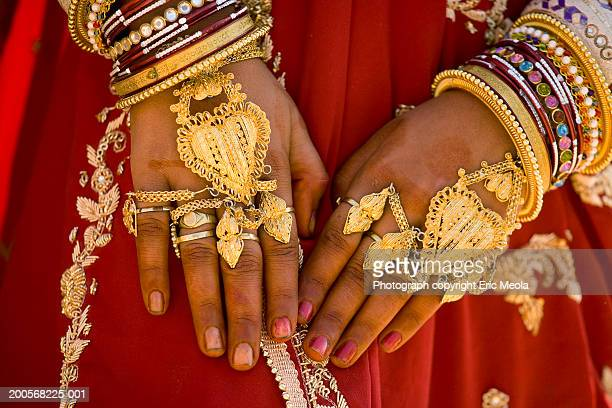 India, Jaisalmer, woman wearing gold jewellery