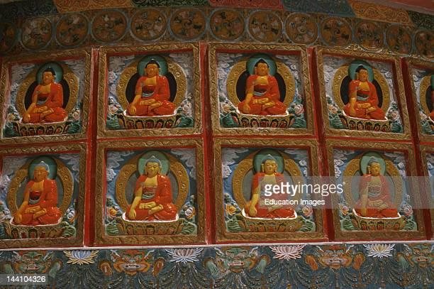 India Jammu Kashmir Ladakh Leh Buddha Figures On Shanti Stupa