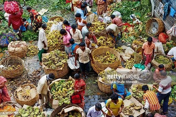 India, Kolkata, Mullik Ghat banana market