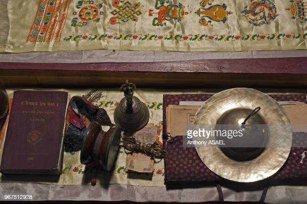 India Ladakh Basgo Buddhist prayer table