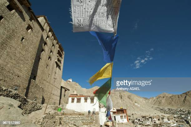 India Ladakh Leh Leh Palace in the Indus Valley with prayer flags