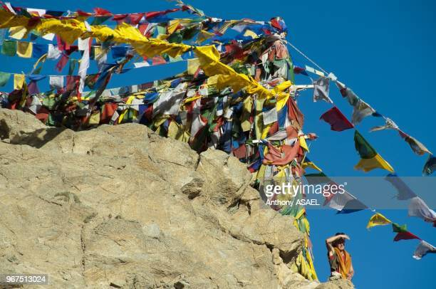 India Ladakh Leh prayer flags at the Gonkang Gompa