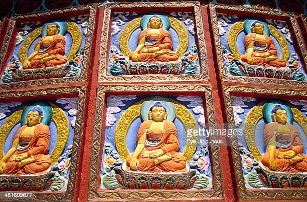 India Ladakh Leh Shanti Stupak Buddhist reliefs Leh's most prominent Buddhist landmark is a gleaming white shrine perched on a ridge above the town...