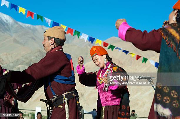 India Ladakh Leh tibetan ceremony in Shanti Stupa with tibetan monks and tibetan traditional dances