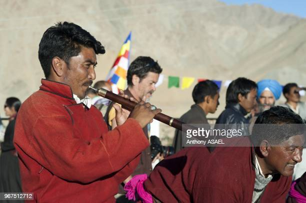 India Ladakh Leh tibetan ceremony in Shanti Stupa with tibetan monks and tibetan traditional dances