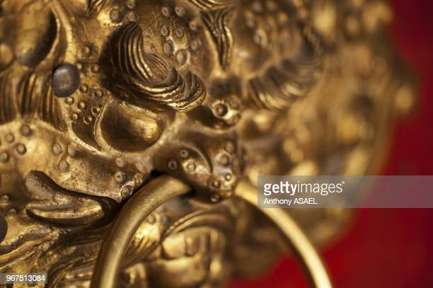 India Ladakh Likir closeup of dragon head door grip