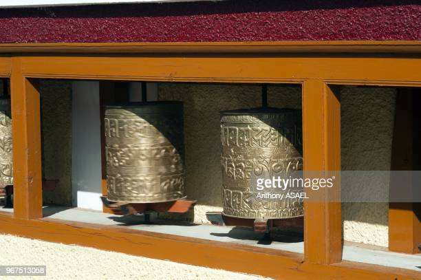 India Ladakh Likir old prayer wheels