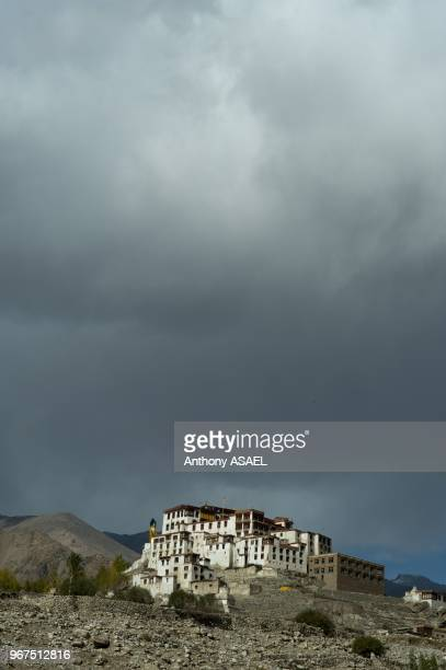India Ladakh Likir scenic view on Likir Gompa with cloudy weather in the background