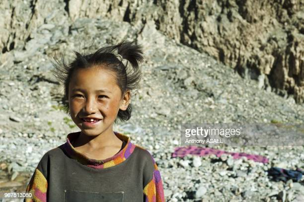 India Ladakh Markha Valley portrait of smiling girl