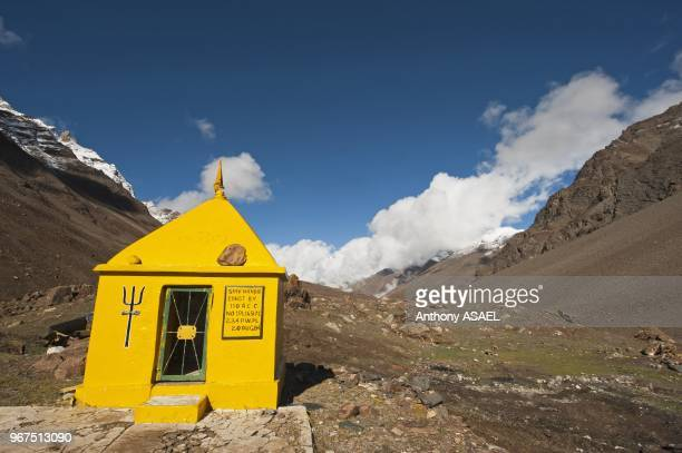 India Ladakh scenic landscape with buddhist yellow stupa in the Himalayas