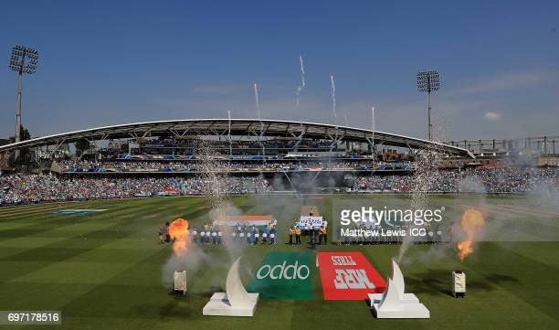 India line up against Pakistan during the ICC Champions Trophy Final between Pakistan and India at The Kia Oval on June 18 2017 in London England