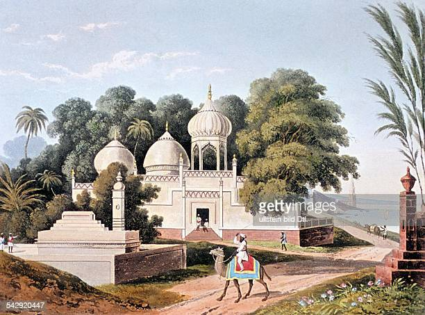 India Lithographs / engravings from the 19th century Mosque and Muslim gravesite at Benares / Varanasi colored aquatint engraving by T Sutherland 1824