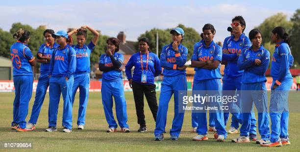 India look on after losing to South Africa during the ICC Women's World Cup 2017 match between South Africa and India at Grace Road on July 8 2017 in...