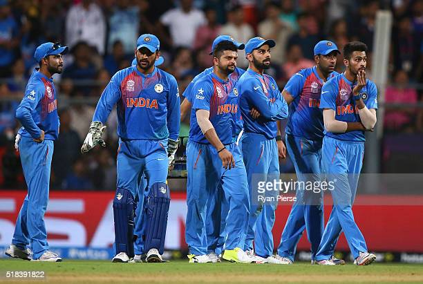 India look on during the ICC World Twenty20 India 2016 Semi Final match between West Indies and India at Wankhede Stadium on March 31 2016 in Mumbai...
