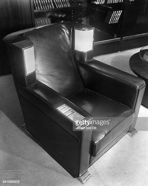India Madhya Pradesh Indore Library in the big palace of the maharajah lounge chair with reading lamps cigarette box and lighter Photographer Emil...