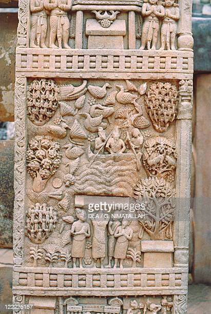 India Madhya Pradesh Sanchi Great Stupa detail of east side gateway