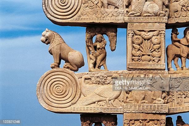 India Madhya Pradesh Sanchi Great Stupa northern gateway detail
