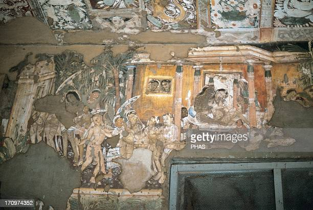 India Maharashtra Ajanta Caves Rockcut cave monuments which date from the 2nd century BCE to the 600 CE UNESCO World Heritage Site Wall of Cave 17...