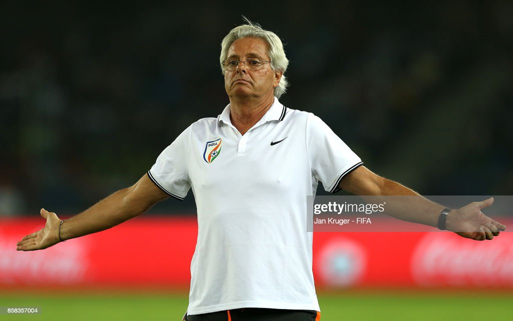 India manager Luis Norton de Matos gestures during the FIFA U-17 World Cup India 2017 group A match between India and USA at Jawaharlal Nehru Stadium on October 6, 2017 in New Delhi, India.