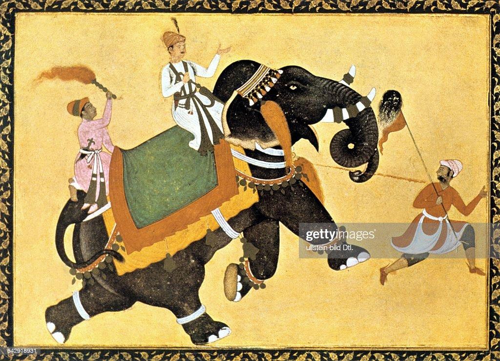India Miniatures India: Mogul prince riding an elephant - miniature of Akbar the Great - about 1600 : News Photo