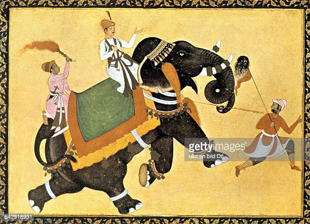 India Miniatures India Mogul prince riding an elephant miniature of Akbar the Great about 1600