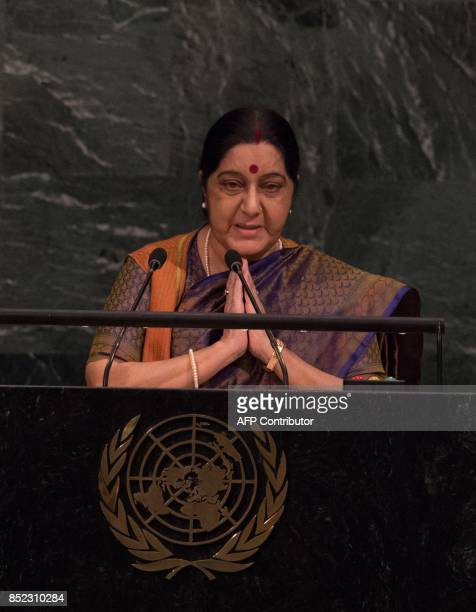 India Minister of External Affairs Sushma Swaraj addresses the 72nd Session of the United Nations General assembly at the UN headquarters in New York...