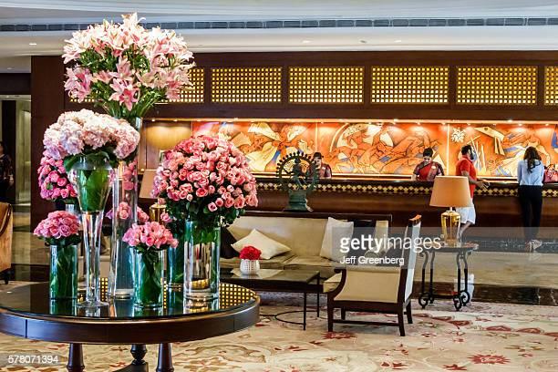 India Mumbai Apollo Bandar Colaba The Taj Mahal Palace hotel inside lobby flower bouquet