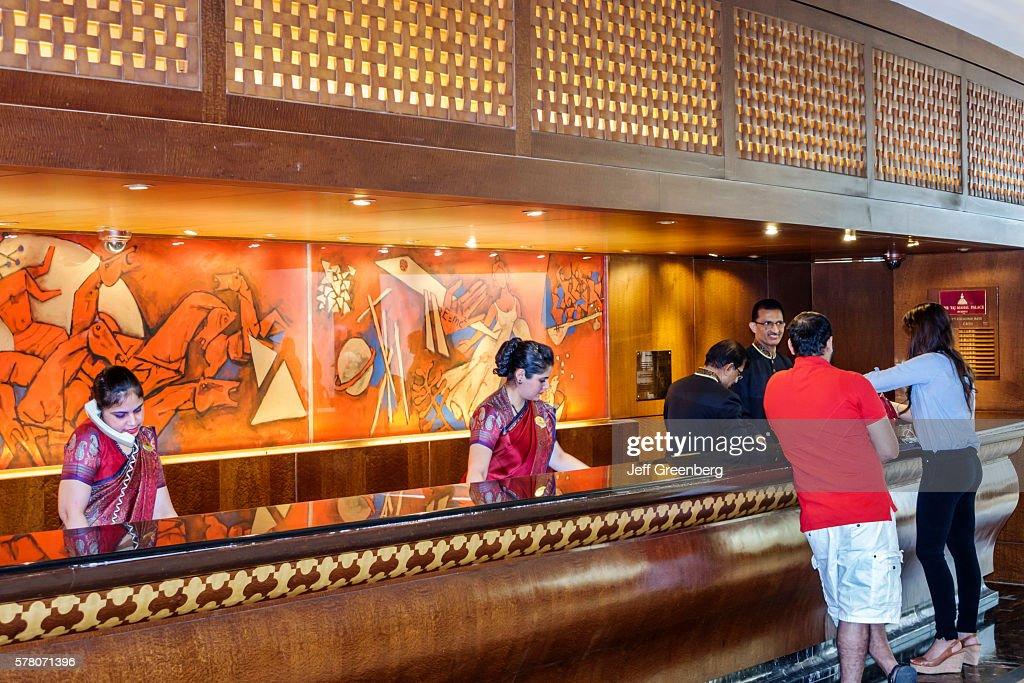 India Mumbai Apollo Bandar Colaba The Taj Mahal Palace Hotel Inside Lobby Front  Desk Reception Check