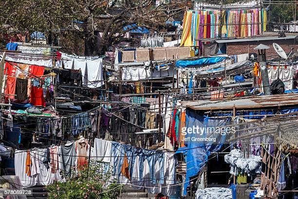 India Mumbai Mahalaxmi Dhobi Ghat Dhobighat hanging laundry open air Laundromat outdoor