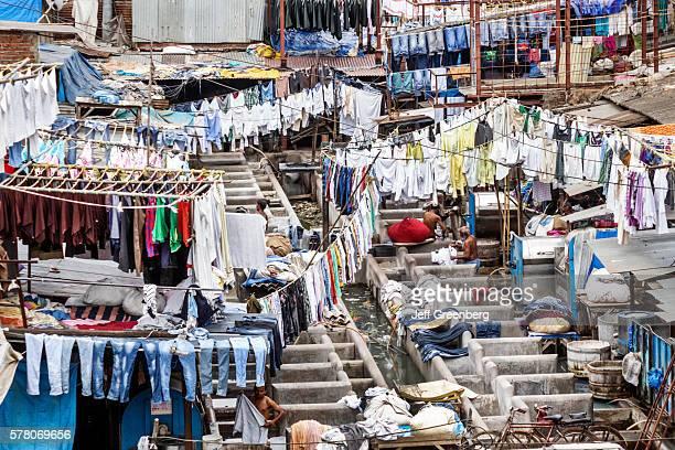 India Mumbai Mahalaxmi Dhobi Ghat Dhobighat hanging laundry outdoor open air Laundromat