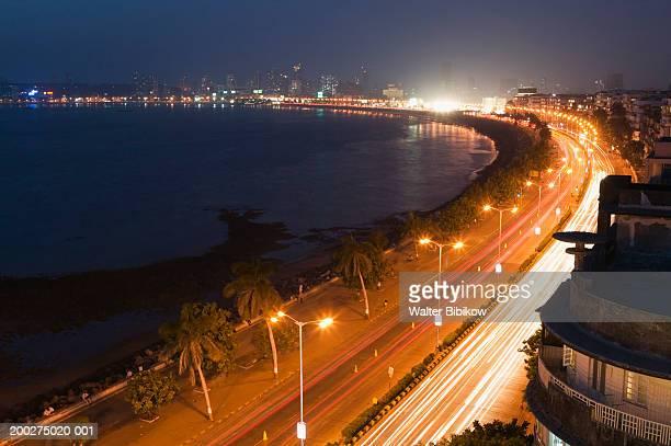 india, mumbai, marine drive, night (long exposure) - mumbai stock pictures, royalty-free photos & images