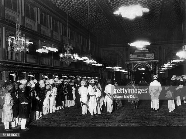 India Mysore Palace residence of the royal family temple dancer dancing for the Maharajah probably in the Royal wedding hall Photographer E F H Wiele...