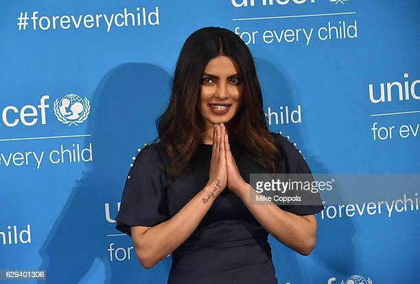 India National Ambassador Priyanka Chopra attends UNICEF's 70th Anniversary Event at United Nations Headquarters on December 12 2016 in New York City