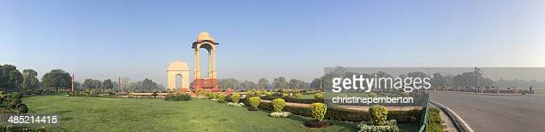 india, new delhi, connaught place, rajpath, india gate, panoramic shot of india gate - india gate stock pictures, royalty-free photos & images