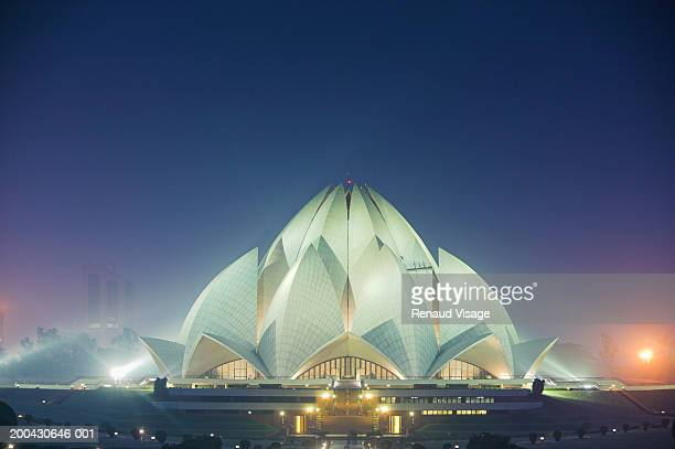 India, New Delhi, Kalkaji, Bahai Lotus Temple, night