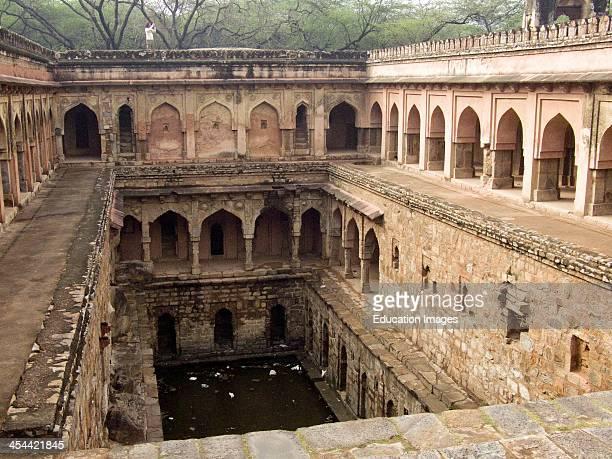 India, New Delhi, Mehrauli Archeological Park, Ancient Baoli Or Step-Well.
