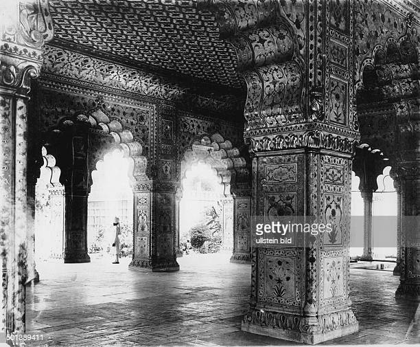 Old Delhi Red Fort DiwaniKhas audience hall made of white marble probably in the 1910s