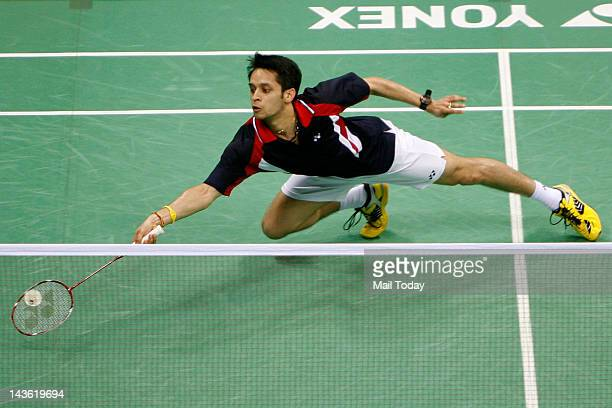 India Parupalli Kashyap in action against Korea's Shon Wan Ho during their semifinal match at Yonex Sunrise India Open 2012 in New Delhi on Saturday